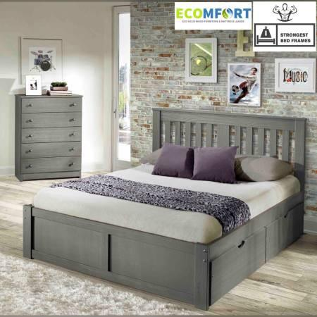 BRAND NEW! MY ALL SOLID WOOD PLATFORMS BEDS IN RUSTIC GRAY!
