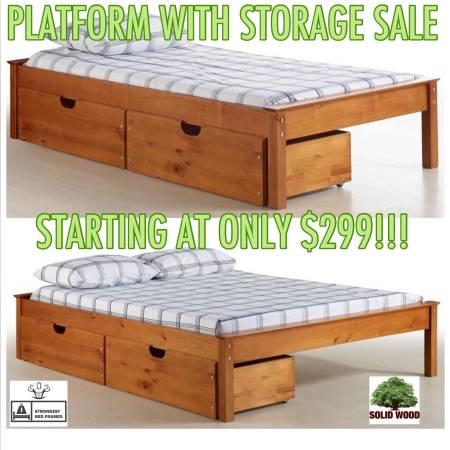 SOLID REAL WOOD STORAGE BEDS! TWIN,FULL,QUEEN,KING!