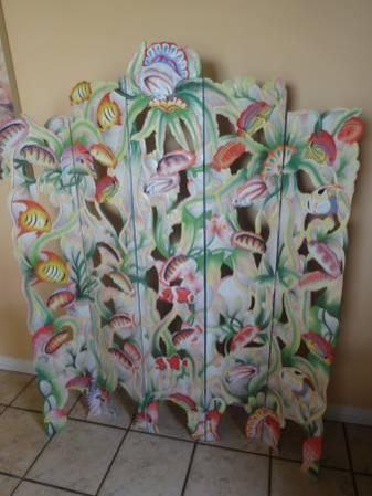 Carved Wooden Screen with Tropical Fish