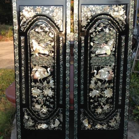 Two Door Panels w/ Hand Cut Mother of Pearl Inlay Upon Heavy Black Lac