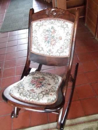 Antique Folding Tapestry Rocker