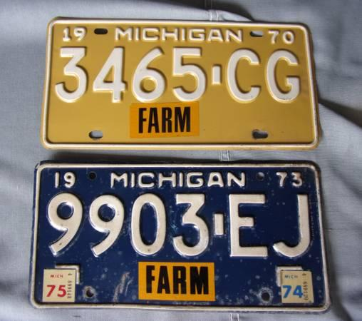 License Plates - Group of 7 Michigan, Other Items For Sale