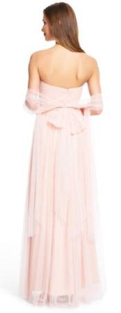 Adrianna Papell Blush Pink Strapless Infinity Tulle Gown, Size 2
