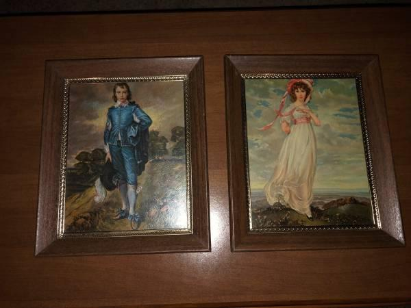 "11 3/4"" X 9 3/4"" Blue Boy and Pinkie framed prints"