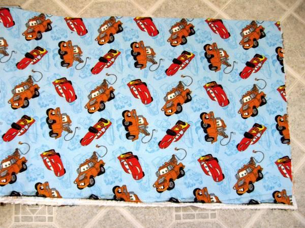 Cars Movie Flannel Fabric - McQueen & Mater