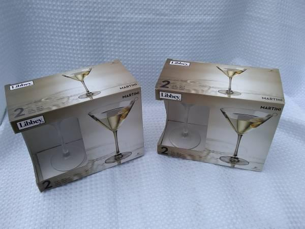 4 New Martini Glasses - Two Boxes of Libbey Brand - 2 Martini Glasses