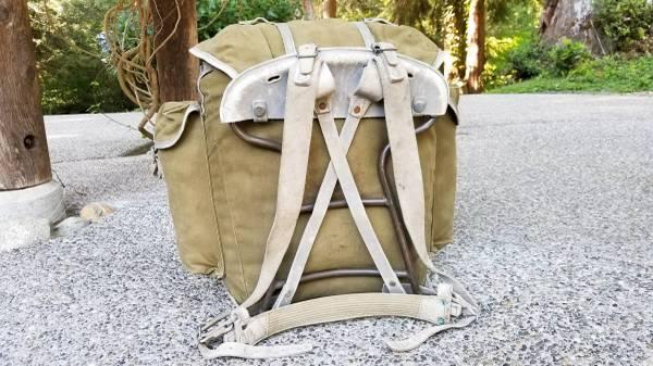 Swiss Army Mountain Vintage Canvas & Leather Steel Frame Backpack