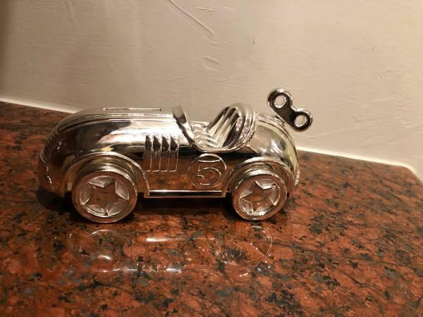 Sterling Silver Racing Car Piggy Bank