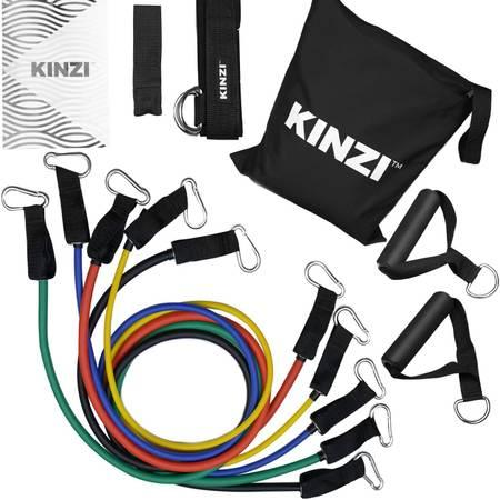 High Quality Resistance Bands Set w/Door Anchor, Ankle Straps, Chart