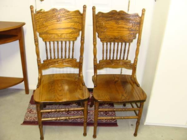 2 oak chairs
