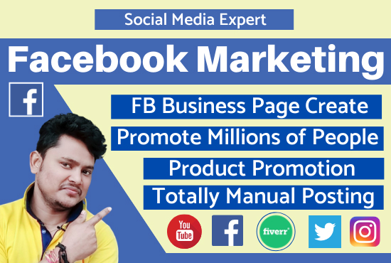 I will promote any business to large audience by facebook marketing